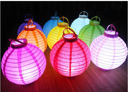 Paper Lantern Chandelier 20cm Led Lamp Battery National Day New Year Mid Autumn Festival