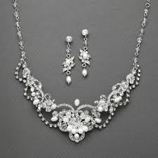crystal wedding necklace images Freshwater pearl and crystal wedding jewelry mariell 4061s jpg