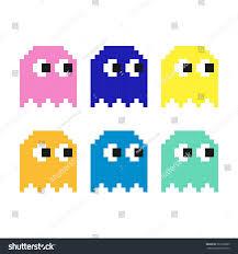 pacman set flat pixel smile icons stock vector 567596605