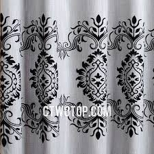 White Patterned Curtains Asia White And Black Patterned Burlap Curtains