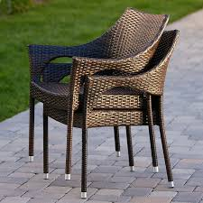 Stackable Patio Furniture Set Amazon Com Del Mar Outdoor Brown Wicker Stacking Chairs Set Of 2