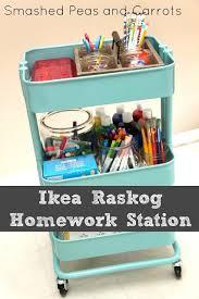 raskog cart ideas diy back to school homework station ideas ikea raskog cart hack