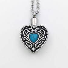 urn jewelry blue heart cremation necklace jewelry for ashes urn jewelry