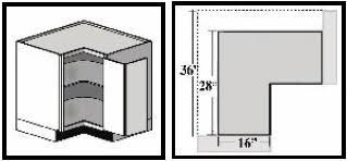 Corner Cabinets - Base kitchen cabinet dimensions