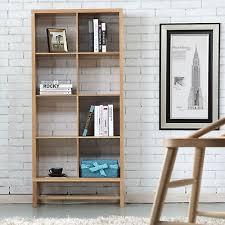 Timber Bookshelf Jonas 3x3 Timber Bookshelf Storage Oak Wood 110x33x128cm