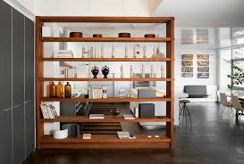 Kitchen Island With Bookshelf Using Room Dividers Ideas Comes With Natural Varnished Hardwood