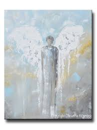 original abstract angel painting male guardian angel blue gold