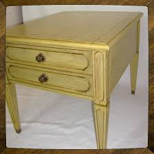 handmade shabby chic yellow side table end table cottage table by