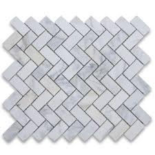 calacatta gold 1x2 herringbone mosaic tile tumbled marble from