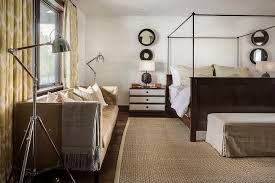 country style bedroom with tan leather tufted sofa country bedroom