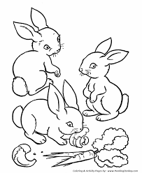 Farm Animal Coloring Pages Printable Rabbits Eating Carrots Rabbit Colouring Page