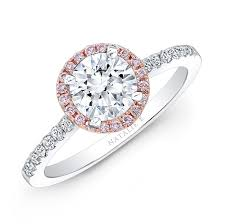 pink wedding rings 18k white and gold pink and white diamond halo engagement ring