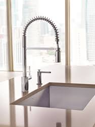 Industrial Style Kitchen Faucet by New Align Pre Rinse Spring Kitchen Faucet From Moen Combines