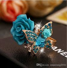 butterfly crystal rings images 2018 butterfly crystal rose flower finger joint rings jewelry jpg