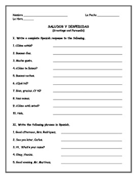 spanish greetings matching classroomiq spanishworksheets