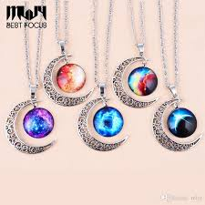real stone necklace images Wholesale mljy moon necklace collares diy jewelry galaxy stone jpg