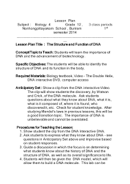 lesson plan structure of dna