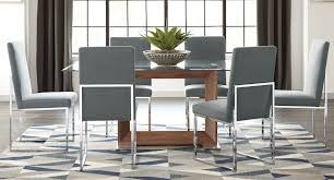 jackson modern glass dining set w grey chairs formal dining