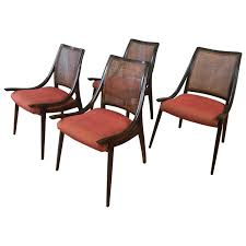 four cane back walnut dining chairs by richard thompson for glenn four cane back walnut dining chairs by richard thompson for glenn of california at 1stdibs