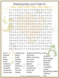thanksgiving word search for printable printable treats