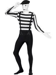 Mime Halloween Costumes Mime Skin Mens Bodysuit Halloween Circus Adults Fancy Dress