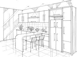 modern dry kitchen kitchen drawing perspective with perspective drawings of a modern