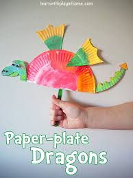paper dragons learn with play at home simple paper plate craft