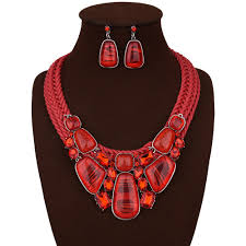 red necklace jewelry images Red irregular geometric style square statement necklace earrings jpg