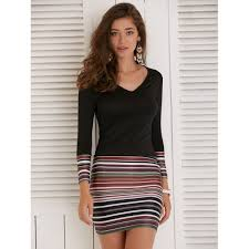 tight dress sleeve striped fitted tight dress in black m