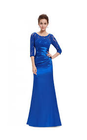 sapphire blue elegant lace long sleeve formal floor length evening