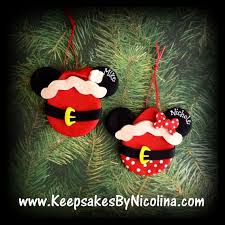 personalized mr mrs claus mickey or minnie ornaments