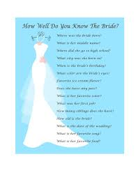 bridal shower game wedding shower game how well know bride