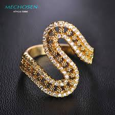 s rings mechosen stunning aaa zirconia rings gold color letter s aneis aros