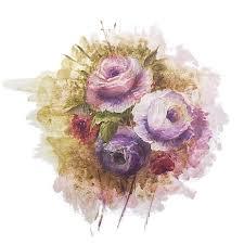 vintage pink purple flower bloom watercolour floral flower clipart
