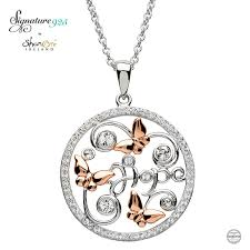 swarovski necklace butterfly images Round silver butterfly pendant adorned with swarovski crystals jpg