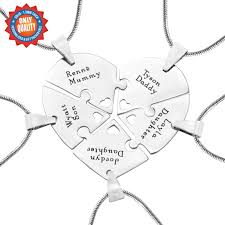 personalised necklaces penta heart puzzle five personalised necklaces