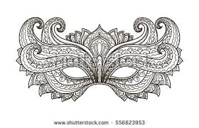 black and white mardi gras masks vector illustration contor mask carnival stock vector