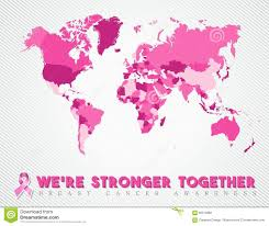 World Wide Map Breast Cancer Worldwide Map Global Pink United Stock Vector