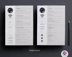 resume template professional 2 cv design etsy