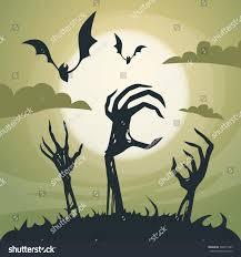 Halloween Skeleton Hands Halloween Banner Cemetery Graveyard Skeleton Hand Stock Vector