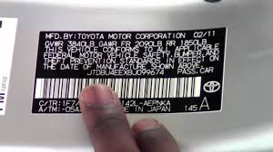 2011 toyota corolla tire and vin stickers how to by toyota