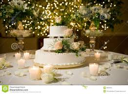 wedding cake on decorated table royalty free stock image