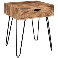Iron Accent Table Jaydo Burnt Solid Mango Wood Black Iron Accent Table