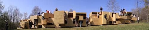 freshman architects erect community of micro dwellings at griffis