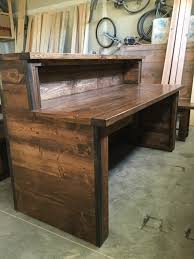 Rustic Pine Desk Rustic Industrial Reception Desk With Two Tiers Frazer
