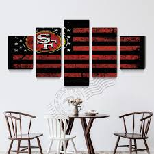 san francisco 49ers home decor 5 panel san francisco 49ers flag canvas poster painting on canvas