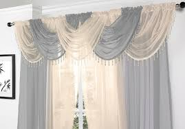 silver voile curtain swag with crystal beaded trim by supplied by