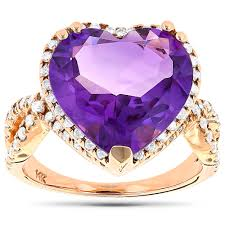 14k gold large diamond amethyst diamond cocktail rings diamond fashion rings 14k 18k white gold