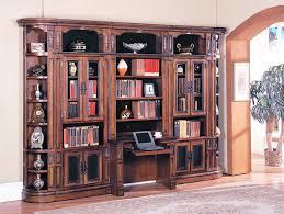 Chestnut Bookcase Davinci 6 Piece Library Bookcase Wall With Desk In Dark Chestnut