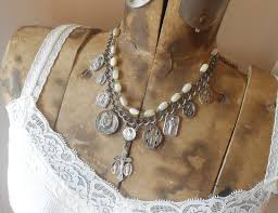 catholic necklaces religious medal charm necklace vintage silver catholic medals